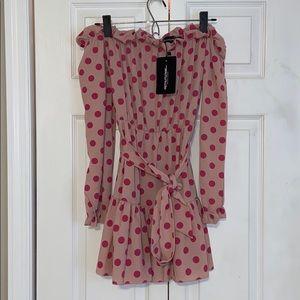 Polka dot off the shoulder mini dress